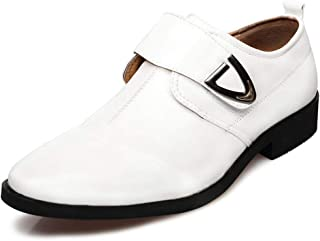Oxford shoe Classic Oxford for Men Formal Wedding Shoes Hook&Loop Strap Microfiber Leather Patchwork Pointed Toe CWCUICAN (Color : White, Size : 44 EU)