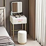 ZGQA-GQA Mesa de mármol de mármol de 50 cm Conjunto de Mesa con cajón y Espejo de luz Inteligente y Taburete Maquillaje Mesa de Mesa Muebles nórdicos (Color : Table Stool Mirror C)