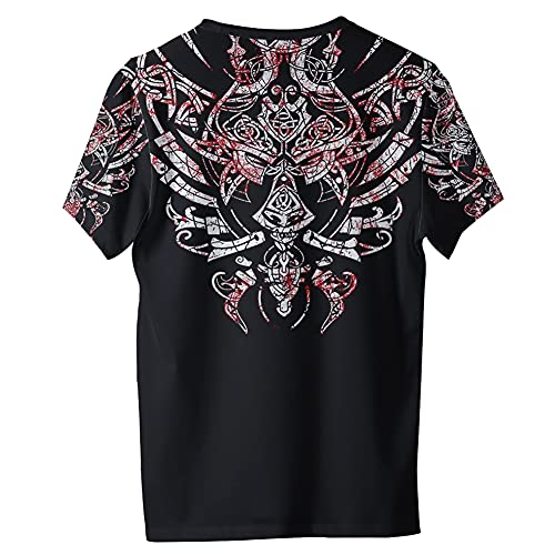 Camisetas Lobo Estampado 3D Para Hombre, Camiseta Divertida Viking Animal Cool, Camiseta Manga Corta Dibujos Animados Verano Fenrir, Camiseta Moda Masculina 6XL,Multi colored,6XL