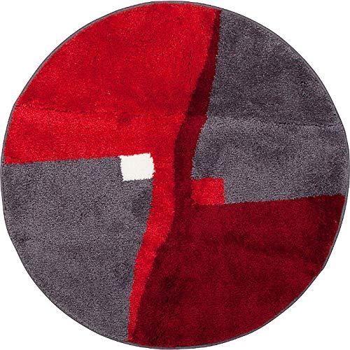 Erwin Müller Badematte, Badteppich, Badvorleger rutschhemmend rot Größe rund 90 cm Ø - kuscheliger Hochflor, für Fußbodenheizung geeignet (weitere Größen)