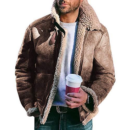 Pantalones Jeans Vaqueros Abrigo De Piel De Invierno, Chaqueta De Cuero Cálida Clásica, para Hombre XL Caqui