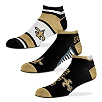 For Bare Feet - NFL Show Me The Money! - No Show Ankle Socks - 3 Pack (New Orleans Saints, Large (10-13))