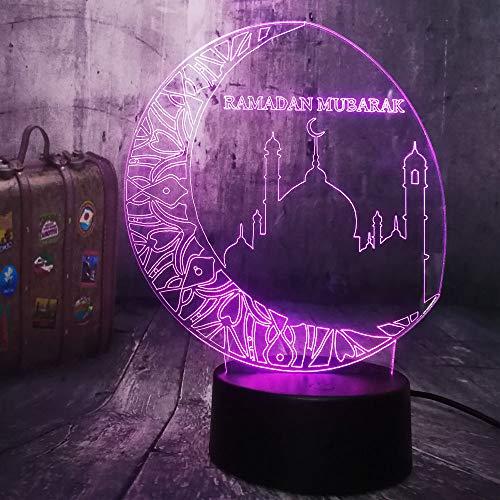 Ramadan Mubarak 3D Nachtlicht Beste Wünsche Grüße Led Schlaflampe Wohnkultur Geburtstag Weihnachtsgeschenk Led Nachtlichter Fernbedienung 7 Farbe