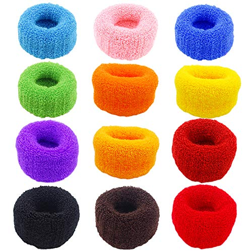 TODEROY 12 Pcs Towel Scrunchies, Colorful Large Hair Ties, Strong Elastic Hair for Ponytail Holder, Hair Accessories Ropes Scrunchie for Women & Girls, Solid Color Hair Band Set (Multi-colored)