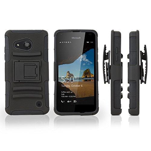 Nokia Lumia 550Telefono, Boxwave [Dual + Max] della Copertura e Clip per Cintura con Fondina per Nokia Lumia 550–Pitch Nero