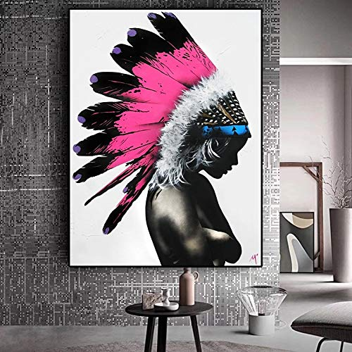 DERFV Cartel de la Pintura al óleo del Nativo Americano Abstracto de la Acuarela de la Lona
