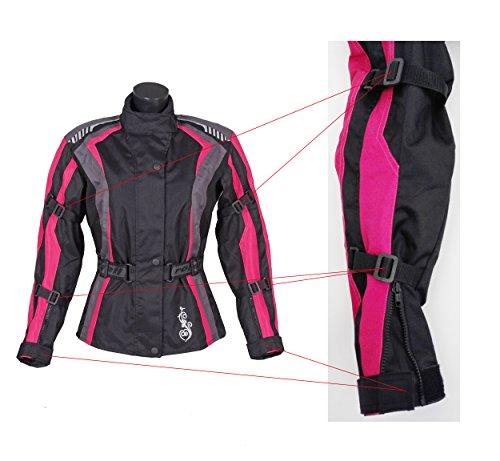 Roleff Racewear Damen Textil Motorradjacke mit Protektoren, Gute Belüftung, Taillierter Schnitt, Schwarz, Pink , Größe XXL - 6