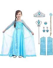 URAQT Disfraz de Princesa Elsa, Traje del Vestido Traje de Princesa de la Nieve Vestido Infantil Disfraz de Princesa de Niñas para a Cumpleaños Navidad Halloween