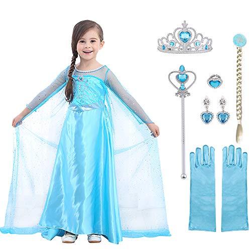 URAQT ELSA Kleid Prinzessin Kostüm Kinder Mädchen, ELSA Krone Kleid Kinder Kostüm 9-teiliges Set mit Diadem Handschuhe Zauberstab usw für Weihnachten Verkleidung Karneval Halloween Größe 140