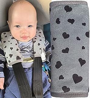 HECKBO 2x Kinderwagen Trageschale Gurtschutz mit Herz Motiv - Sicherheitsgurt Schulterpolster Schulterkissen Gurtschoner Autositze Gurtpolster für Kinder, Jungen, Jungs
