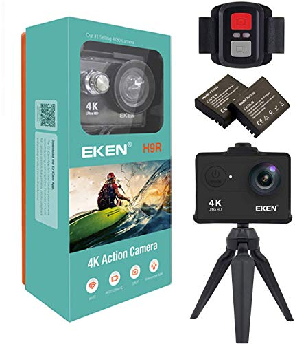 EKEN H9R Action Camera 4K WiFi Waterproof Sports Camera Full HD 1080p60 2.7K30 4K30 720p120 Video Camera 20MP Photo Includes 11 Mountings Kit 2 Batteries Black for Tríp