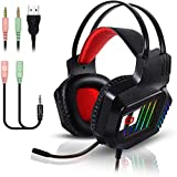Stereo Gaming Headset for PC PS4 Xbox One Controller Over Ear Headphones with Noise Cancelling Mic RGB LED Light Bass Surround Soft Memory Earmuff Compatible with Mac Laptop Nintendo Switch Games