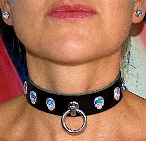 Totenkopf Skull SM Punk Biker Halsband Halsschmuck Lederhalsband mit O-Ring und Swarovski Kristallen / Unisex / Größe: Maßanfertigung / abschließbare Rollschnalle