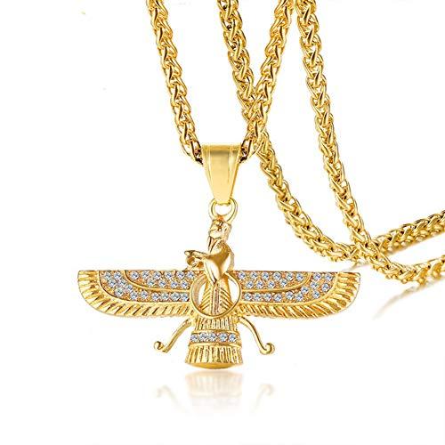 TIZIKJ Männer es Edelstahl Farvahar Symbol des Iran Persischen Geschenk Pendant Halskette 24