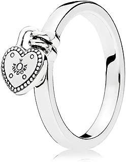 PANDORA Heart Padlock Ring, Sterling Silver 196571-54 EU 7 US