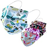 Everydayspecial Disposable Safety Mask 3 Layer Protection Face Mask for Adults 50 pcs (Butterfly Print)