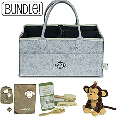 Baby Diaper Caddy Organizer + Wooden Hair Brush + Stuffed Monkey Bundle | Includes Free Bib Set (bib, Changing pad & Pacifier Holder)! Great Gift for Any Registry or Baby Shower!