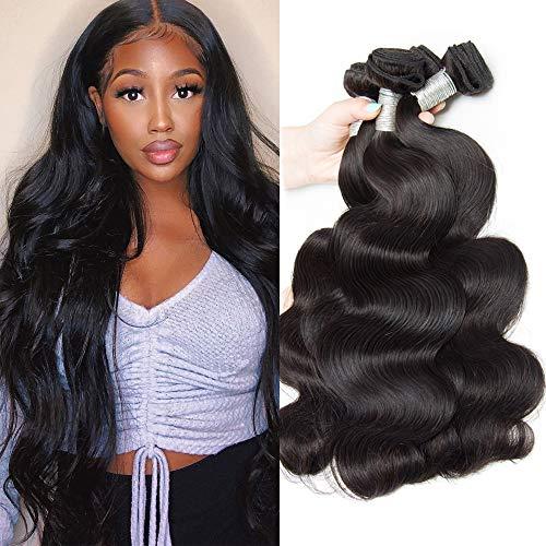 Vipbeauty Brazilian Body Wave Human Hair 3 Bundles Deal 16 18 20 inches Unprocessed Virgin Remy Hair Weave Double Layer Machine Weft 100g Each Bundle Medium Length
