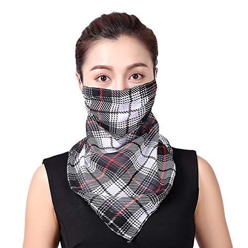 COMVIP Sommer Chiffon Multifunktional Atmungsaktiv Sonnenschutz Halstuch Schlauchtuch Gesichtsmaske Face Shield Schwarz-1