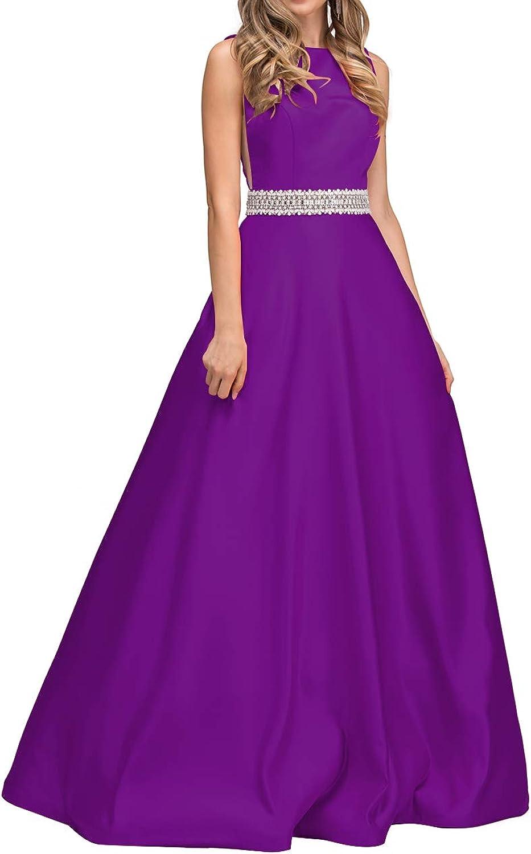 Beaded Prom Dresses Long ALine Open Back Sleeveless Satin Evening Gown for Women