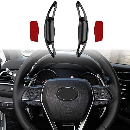 CKE Aluminum Steering Wheel Paddle Shifter Extension Cover Interior Shift Car Trims Accessories for Toyota Camry LE SE XLE XSE 2018-2022 Corolla 2019+ RAV4 2019+ Avolon 2019+ - Black