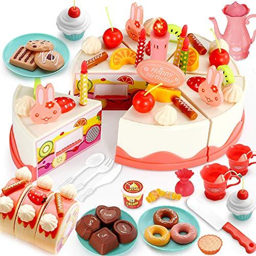 AJBAO Juego de té para niños pequeños, Juguete Educativo de Cocina para niños, niña, niño, Juguete de Regalo para niños de 3 a 9 años, Juguetes para Cortar Pasteles para Fiestas de cumpleaños