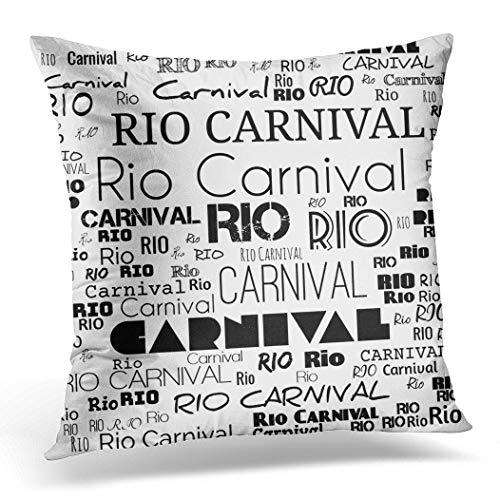 Awowee Poszewka na poduszkę 16 cali x 16 cali, 40 cm x 40 cm Rio Carnival is Considered as the biggest in world słowo chmura atrakcyjna pokonana piękna dekoracja domu poszewka na poduszkę na sofę krzesło łóżko