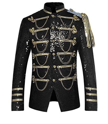 Allthemen Smokingjacke Herren Frack Kostüm Gothic Jacke Frack Mantel Glitzer Pailletten Sakko für Hochzeit Party Abschlussball Schwarz Large