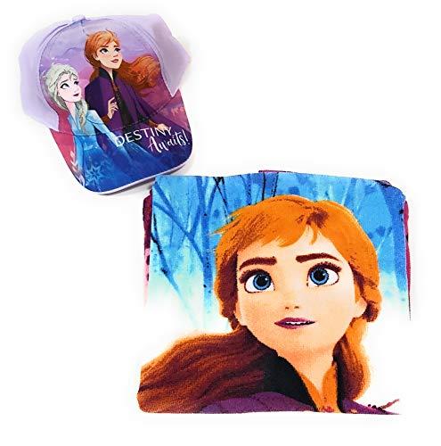 New Import Poncho Frozen Toalla para Playa o Piscina + Gorra Frozen Elsa y Anna para niñas (Púrpura)