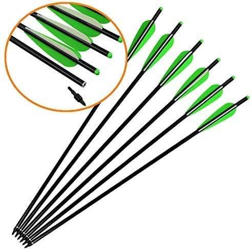 DZGN 12 Paquetes de Carbono Crossbow Pernos Flechas 16 18 20 22 Pulgada Pulgadas Flechas de la Caza con Puntas Intercambiables para Crossbow Luna Nock para Caza al Aire Libre,20inch