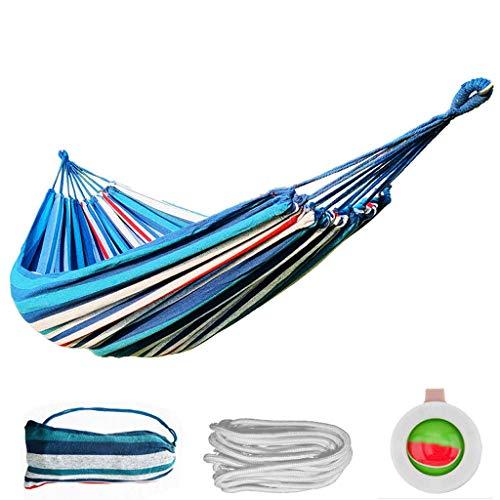 WHL Hamacas Una Sola Hamaca de Acampar Doble con Bolsa de Almacenamiento, hamacas de Rayas de Arco Iris para Viajes de Campamento Muebles y Accesorios de Patio (Color : Fine Blue Stripes/Double)
