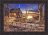 Simpler Times by Jim Hansel 24x33 Log Cabin Lake Old Truck Bridge Sunset Framed Art Print Picture