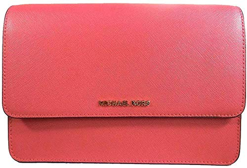 Made of Leather; Front magnetic snap flap closure with MK logo; Center compartment pocket divides 2 open compartment 1 zip pocket; 6 credit card slots; 1 back slide pocket Adjustable Leather and chain shoulder strap of 23 Inches drop; Gold hardware M...