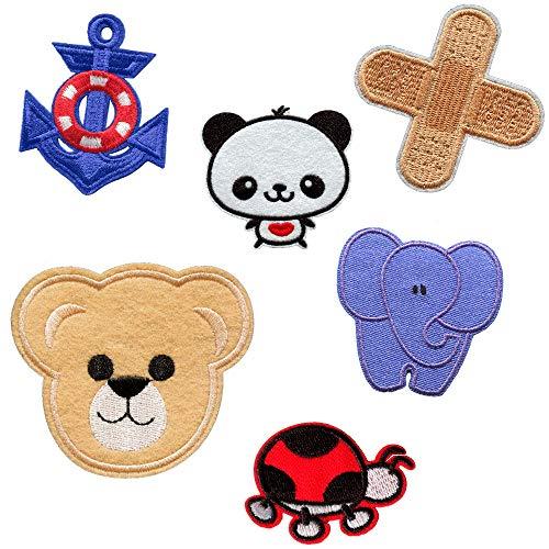 Parches para Ropa Infantiles Termoadhesivos Niño – 6 Apliques para Coser Bordados Decorativos Oso Elefante Tiritas Panda Chaqueta para Planchar Pantalones Niños Aplicaciones Costura Cumpleaños Bebé