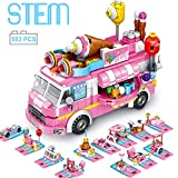 brusionly STEM Building Toys, Toys for 6 Year Old Girls 553 PCS Ice Cream Car 25 Forms STEM Activities for Kids Ages 5-7 Ice Cream Vehicles Kit|Best Gifts for 5 6 7 8 9 10 11 12 Year Old Girls