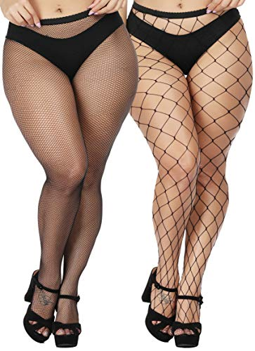 TGD Women's Fishnet Stockings Sexy Tights Pantyhose Net Plus Size Thigh High Stocking 2Pairs(Big-Small-Plus size)