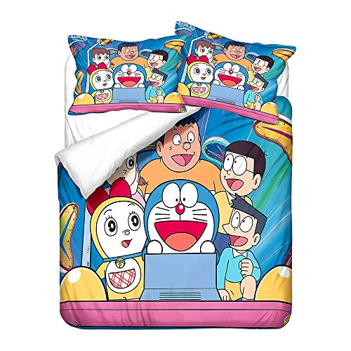 Probuk Doraemon 3D Juego de ropa de cama 100% microfibra Anime funda nórdica niños niñas bebé ropa de cama con funda de almohada (A-03,200 x 200 cm (80 x 80 cm)