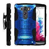 TurtleArmor | Compatible with LG V10 Case | LG G4 Pro Case [Hyper Shock] Exclusive Combo Hybrid Impact Armor Belt Clip Case Hard Shell Stand Silicone Gel Alien and UFO - Blue Technology