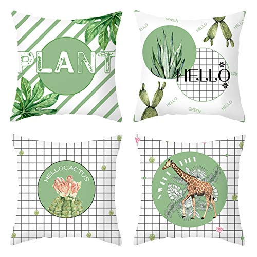 Amody Pillow Cover Throw Set of 4, Pillow Case Cover 50x50cm Cactus Plant Striped Lattice Pillow Cases for Living Room Set 2