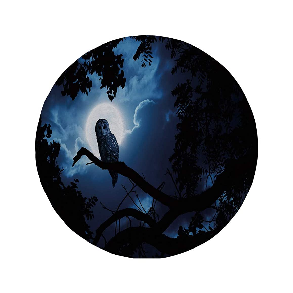 Non-Slip Rubber Round Mouse Pad,Night,Quiet Night in The Woods Full Moon Tall Trees and Owl on Branch Tranquil Scene Decorative,Black Blue White,7.87