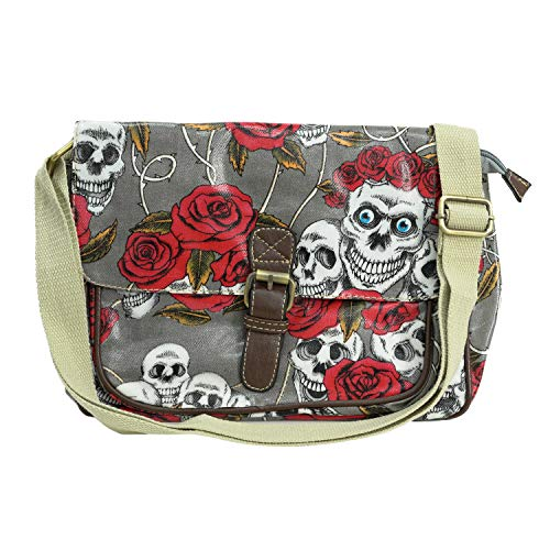 Satchel Oilcloth Skull retro Rose Print Small/mini cross body messenger Bags with buckle (Grey)