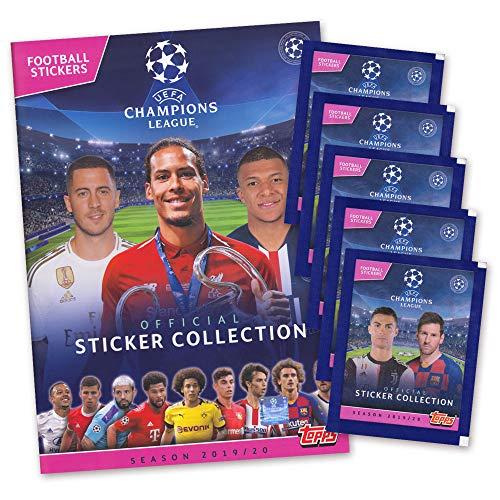 Champions League 2019/20 UEFA Sticker Sammelalbum + 5 Booster - deutsche Ausgabe