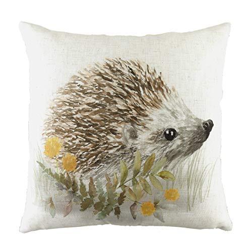 Evans Lichfield Woodland Hedgehog Cushion Cover, White, 43 x 43cm