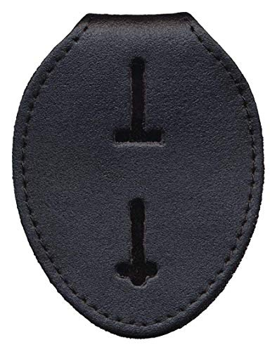 Badge Holder Case, Universal, Black, Leather, NOT Recessed, Metal Clip & Chain Included
