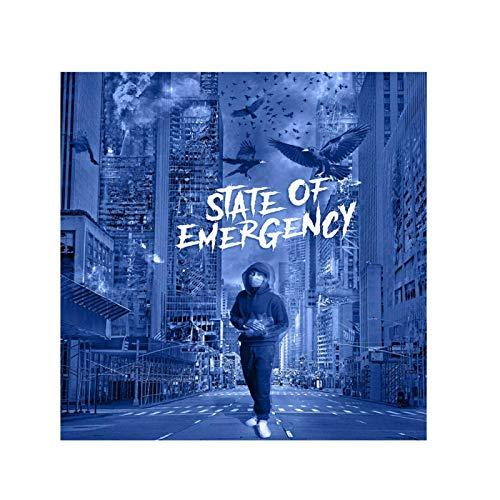 FGVB Lil Tjay Pop Smoke - State of Emergency Album Cover Poster Lienzo Pintura Pared Arte decoración para Dormitorio Sala de Estar decoración de baño 60x60cm sin Marco