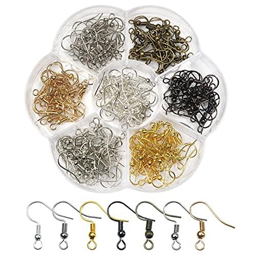 TOAOB 140 Stück 18x19 mm Metall Ohrring Haken Ohrhaken mit Kugel und Spule Mehrfarbig für DIY Ohrringe Schmuckherstellung