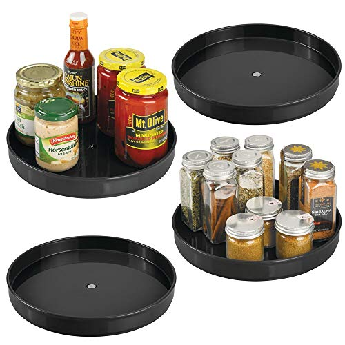 mDesign Plastic Lazy Susan Turntable Food Storage for Cabinets Pantry Refrigerator Countertops - Spinning Organizer for Spices Condiments Baking Supplies - 9 Inches Round - Black Set of 4