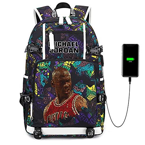 Lorh's store Stella del Giocatore di Basket Legend Eever Ends Zaino Multifunzione da Viaggio per Studenti laptopdaypack Fan Bookbag per Uomo Donna (Blu- Jordan Motivo 1)