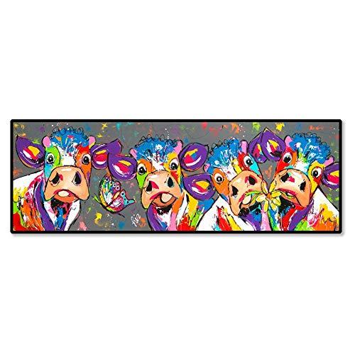 nobrand Druck auf Leinwand Bunte Vier Kühe Graffiti-Poster Wandkunst Bilder Wohnzimmer Wohnkultur Leinwand Gemälde 30x90cm (11.8