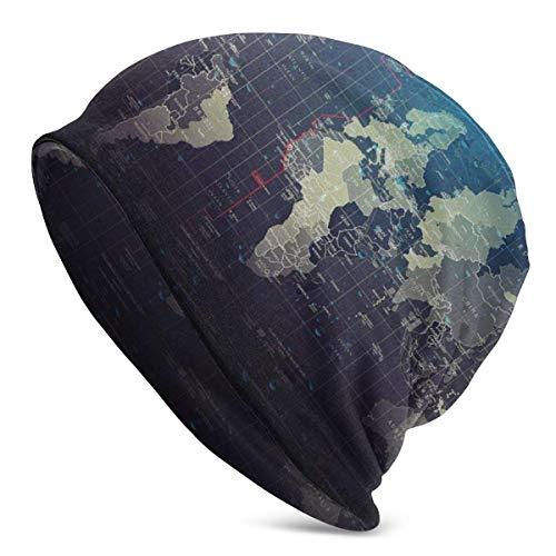 Voxpkrs Beanie Hat, World Map 3 Slouchy Beanie Hat Cotton Winter Hats Unisex Skull Cap Black